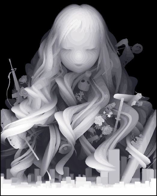 "Artist: Kazuki Takamatsu, Came to take entwined. "" "" 2011.1620 × 1303Mm Tarpaulin Prints and giclee ground chalk, gouache, acrylic, acrylic paint medium (solvent pigment for outdoors)"