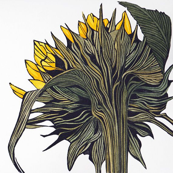 Sunflower linocut print in hand coloured by IreneHelenMacKenzie,