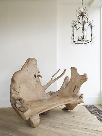 Rose Uniacke – Shop – A Large Yew Wood Bench. This root furniture works better inside than in a garden