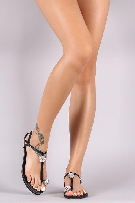 Liliana Rhinestone Toe Ring Flat Sandal