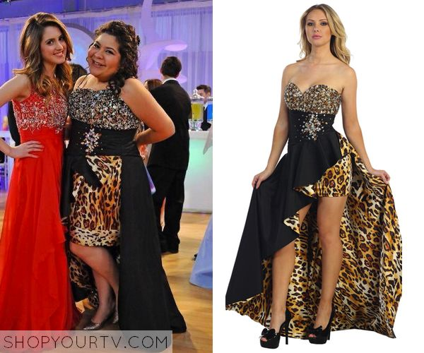 Trish de la Rosa (Raini Rodriguez) wears an altered version of this leopard print embellished prom dress in this week's episode of Austin & Ally. It is the Sparkly Jewel Leopard Print Dress with Train. Buy it HERE for $177