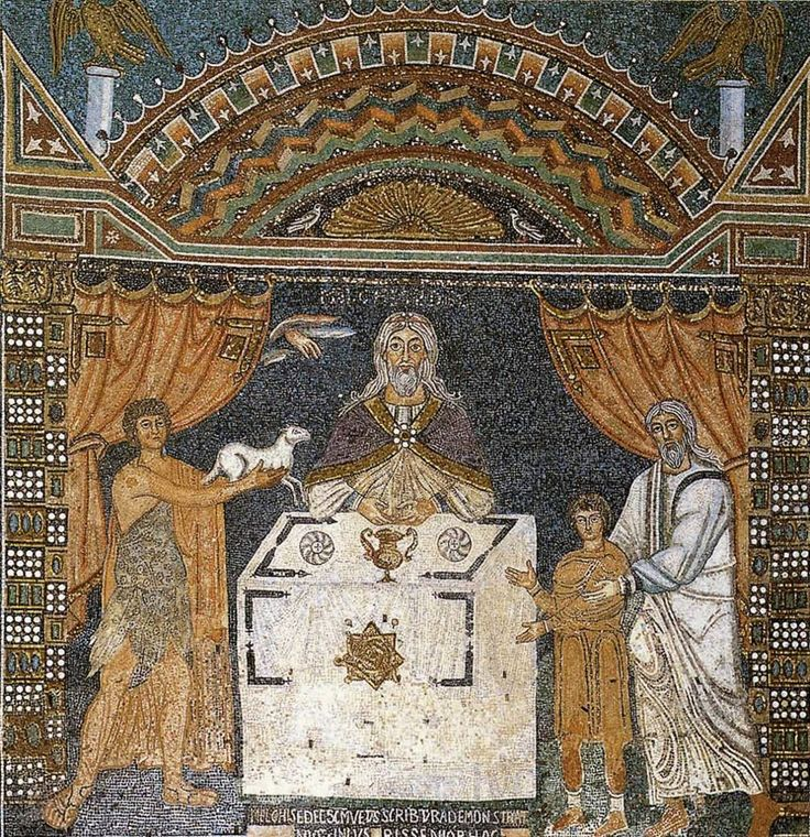 We can notice some very interesting and familiar temple symbolism in this mosaic created relatively early into the apostasy. We see veils, the hand of God reaching down from behind the veil, and Melchizedek, representing Christ, officiating at the altar. The seal of Melchizedek is in a traditional holy area, defined by the four right-cornered gammadia. The L-shaped gammadia are symbolic of raising the arm to the square, or in other words, symbolic of covenant.