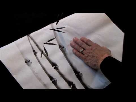 Sumi-e bamboo demo . . . she makes it look easy.....bet it took mucho practice