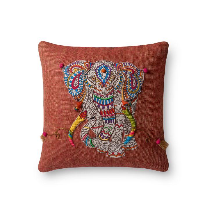 Malisa Elephant Pillow, Burnt Orange