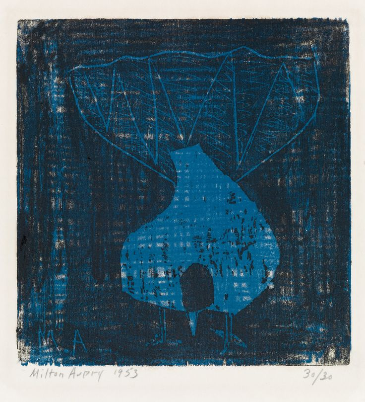 MILTON AVERY  Fantail Pigeon.   Color woodcut printed in blue and black on Japan paper, 1953. 257x248 mm; 10 1/8x9 3/4 inches, wide margins. Second state (of 3). Signed, dated and numbered 30/30 in pencil, lower margin. A very good impression. Lunn 47.