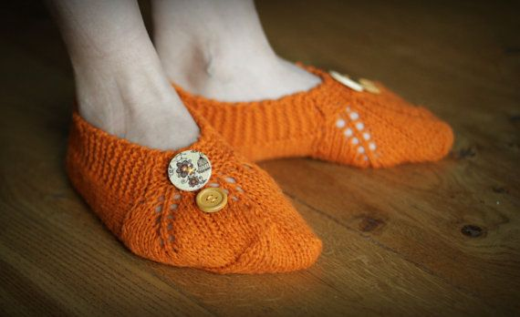 Wool knitting orange slippers sleep socks home by HandfulCrafts