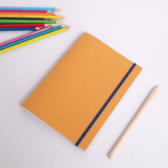 Hand stitched A5 notebook - speckled mustard