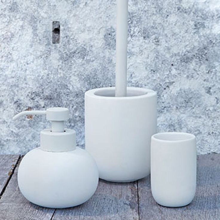 Designstuff offers a range of Scandinavian bathroom accessories including this stylish white concrete toilet brush by Mette Ditmer.