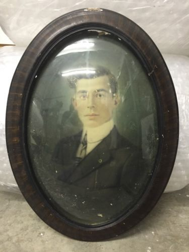 Vintage Oval Wood Framed Portrait Dome Bubble Glass 1908 Handsome Young Man in Antiques, Decorative Arts, Picture Frames | eBay