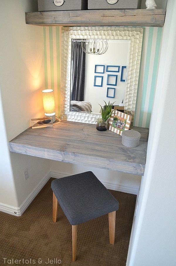 Make Floating Shelves and Desk for a Bedroom; possible vanity between closets