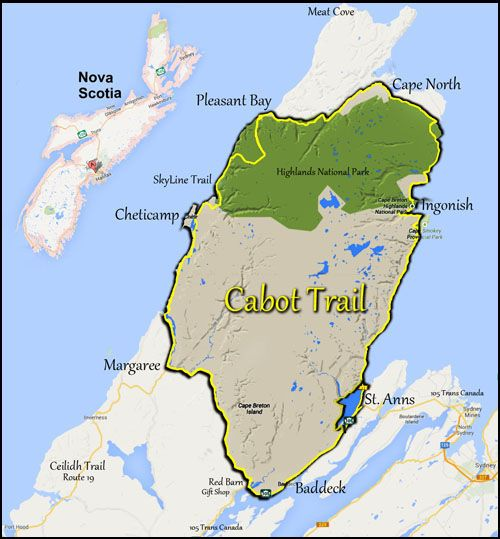 Map of the Cabot Trail, Cape Breton Nova Scotia, Cape Breton Highlands National Park |The Cabot Trail loops in either direction, you should allow at lest 8 hours to drive around the Cabot Trail, starting from Baddeck or the Trans Canada Highway, this will give you time for some stops.