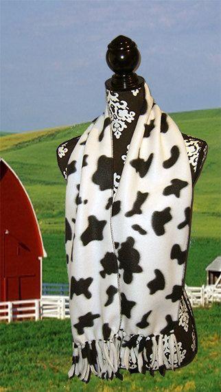 Cow Spots Print Fleece Scarf, Muffler, Neck Wrap,  Cow,Holsten, Farm Animal, Black White, UNISEX on Etsy, $11.00
