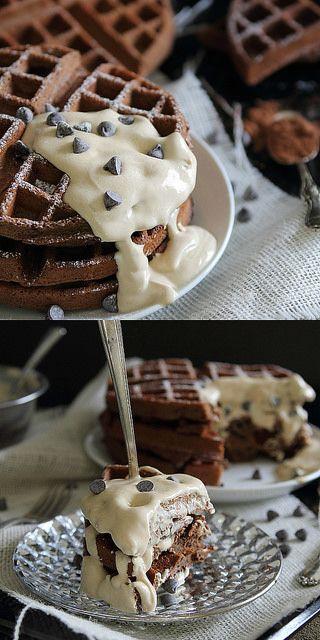 Chocolate Waffles with Peanut Butter Yogurt Sauce by Runningtothekitchen, via Flickr