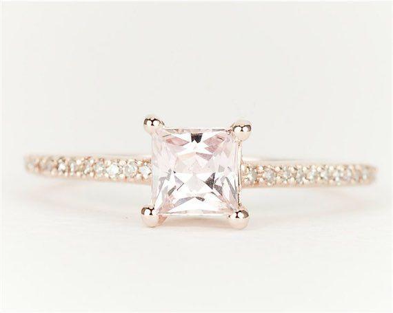 Sapphire Diamond 14k Rose Gold Princess Cut Engagement Ring