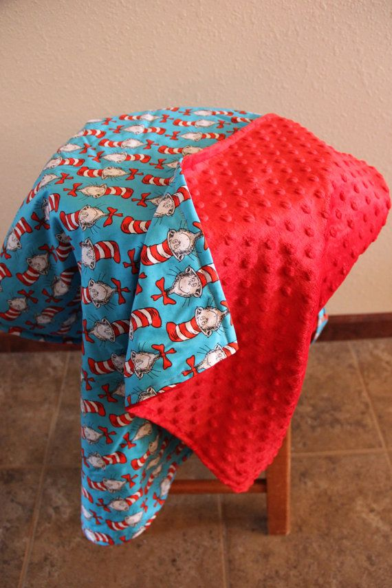 Dr. Suess' The Cat in the Hat minky toddler blanket on Etsy, $39.99