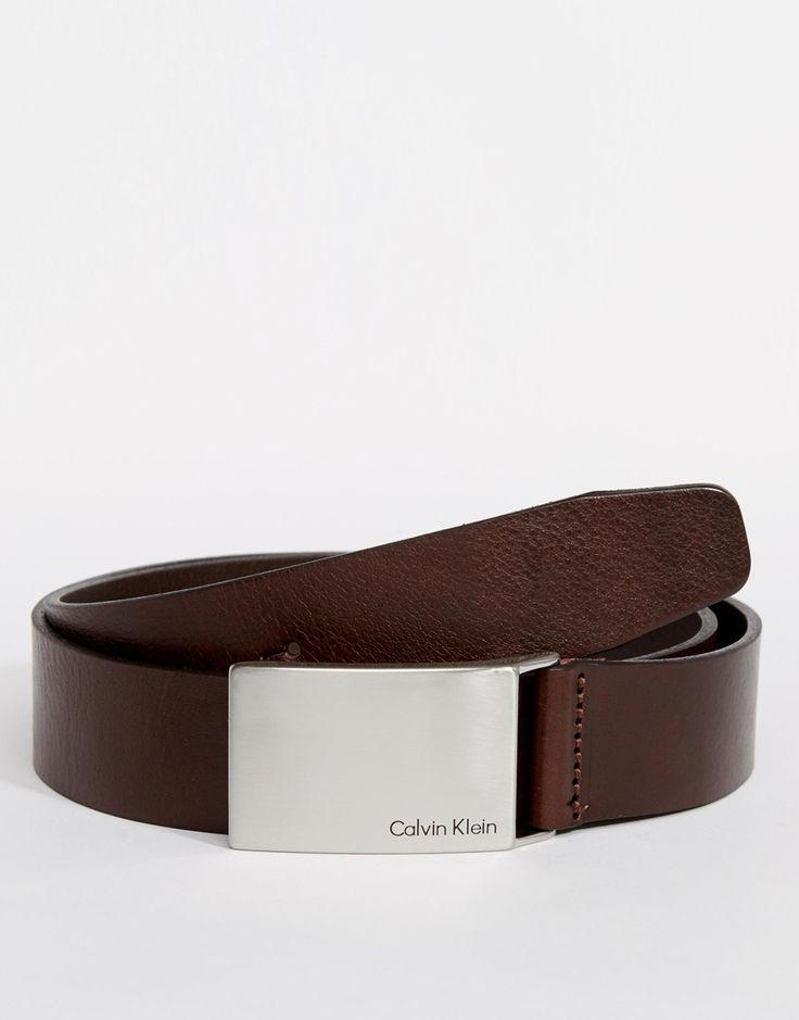 Ceinture par Calvin Klein Bracelet en cuir lisse Boucle plaque Logo de la marque Essuyer uniquement 100% cuir véritable