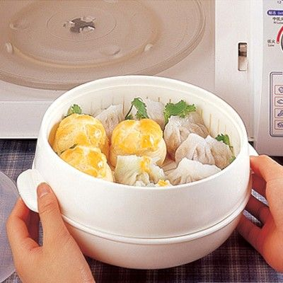 Healthy White Portable Microwave Steamer With Lid Plastic Cooking Tools Food Cookware Storage Boxes 20*11cm free shipping