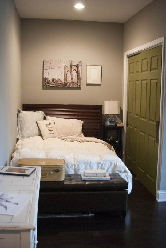 for a small space always add a pop of color near an entry way - Basement Bedroom Ideas