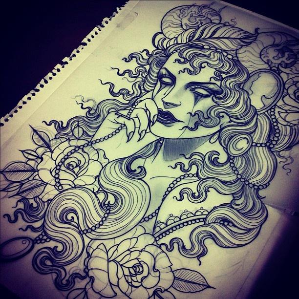 Tattoovorlage | Hand | Tattoo | Frau | Rosen | Haare