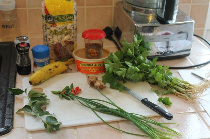 KoiIMangeZordi bonbon piment Le Panier : Pois du cap, curcuma, cumin, coton mili, gingembre, oignon vert, calou pilé, banane, sel, banane mure, piment, sel