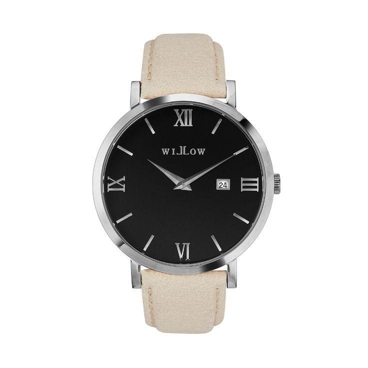 Treviso Silver Watch & Interchangeable Beige Leather Strap.