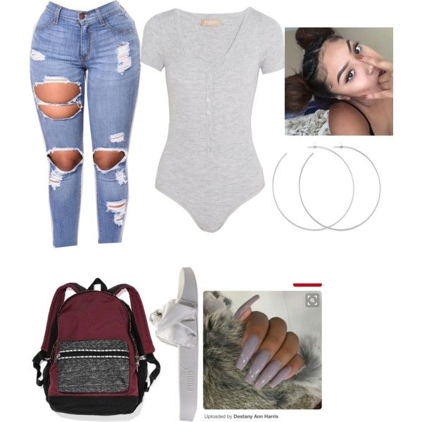 A fashion look from December 2017 featuring Puma sandals, Victoria's Secret backpacks and Allison Bryan earrings. Browse and shop related looks.