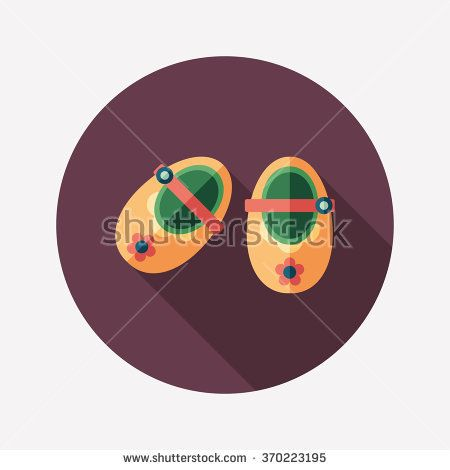 Baby booties flat round icon with long shadows. #flaticons #vectoricons #flatdesign