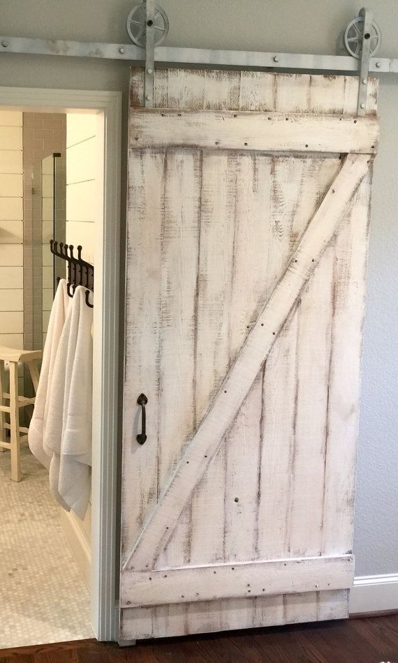 Shabby chic z sliding barn door white barn door portes - Porte de grange ...