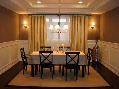 great use of window treatments and lighting.: Warm Colors, Window Treatments