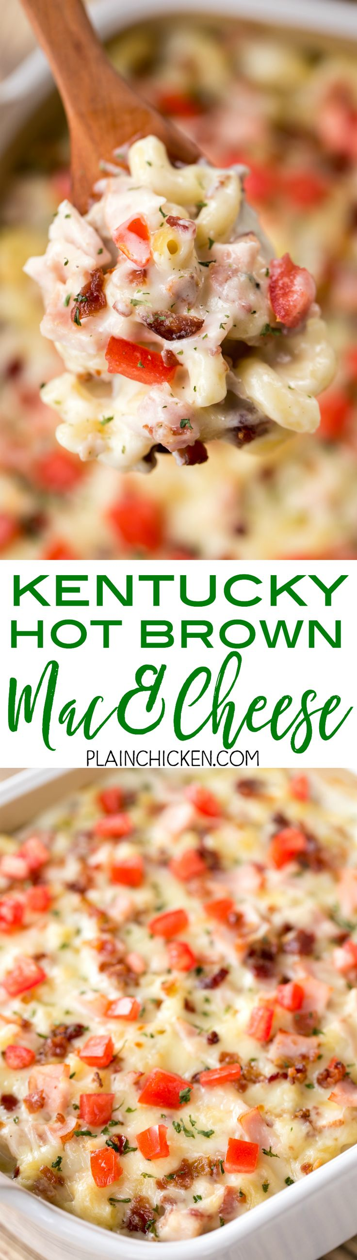 Kentucky Hot Brown Mac and Cheese - THE BEST!!! We ate this two weeks in a row. Seriously DELICIOUS! Macaroni, flour, butter, onion, salt, pepper, milk, gruyere cheese, turkey, bacon, tomatoes. All the flavors of a  Kentucky Hot Brown Sandwich in pasta. Everyone cleaned their plate and went back for seconds. This is a new favorite. GREAT macaroni and cheese recipe!