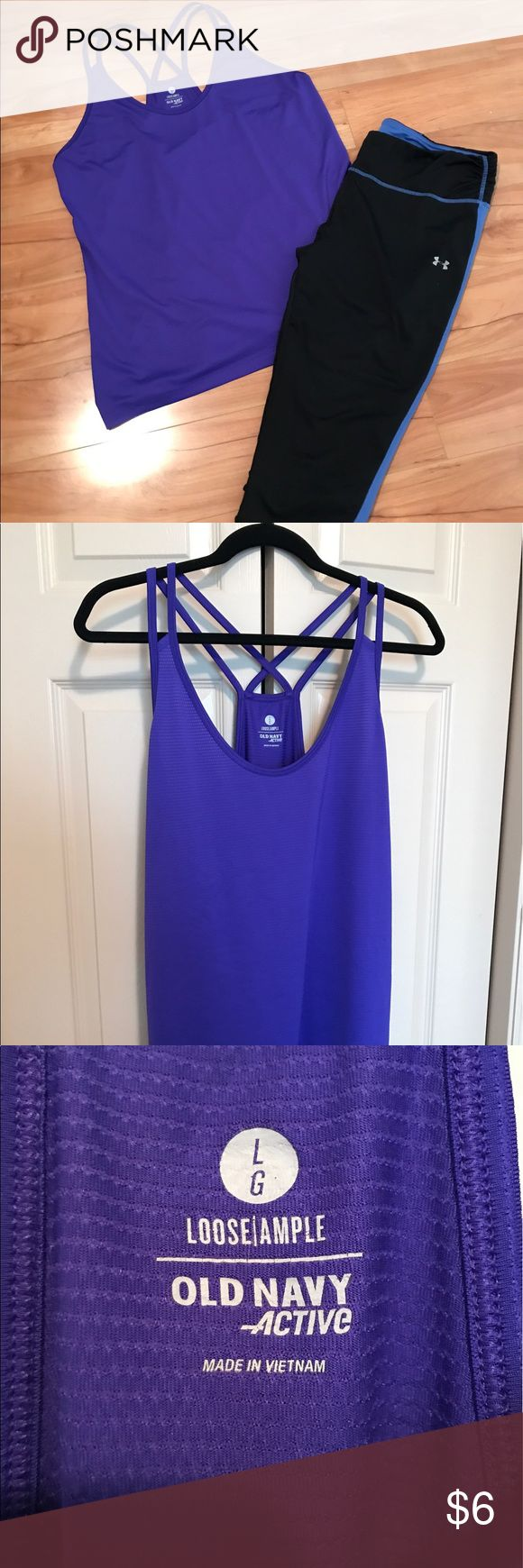 Purple Strappy Loose Workout Tank Super cute and strappy (the lastest trend!). It has a few little snags as noted in the photos. This beauty is stretch, loose and super flattering when worn with your fave leggings! Old Navy Tops Tank Tops