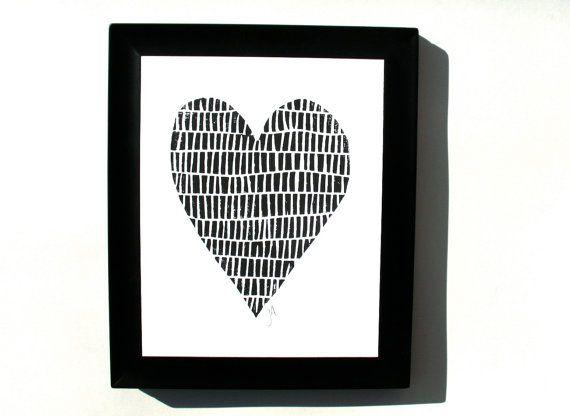 Grafik  minimal schwarzes Herz 8 x 10 Valentine von thebigharumph