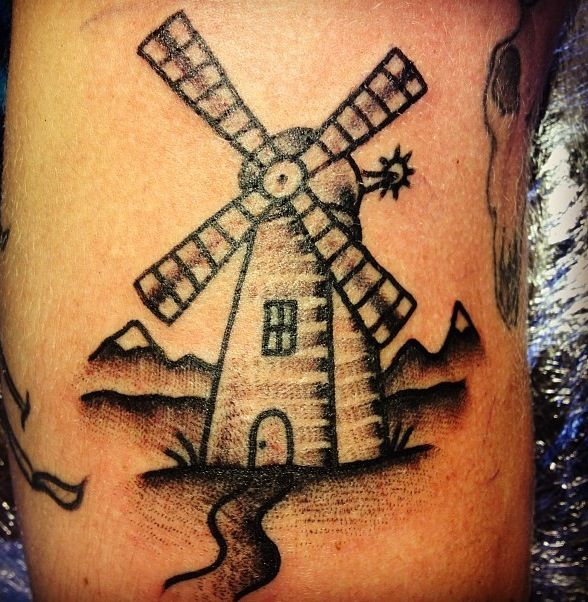little windmill on damien from 39 the weeks 39 band great time tattooing these guys and a great. Black Bedroom Furniture Sets. Home Design Ideas