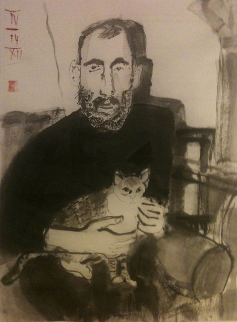 "Edward Gorey before the ""heaviness of success"", ink on Japan 24x33cm"