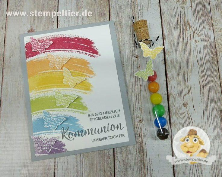 ein regenbogen zur kommunion - einladungen - stempeltier