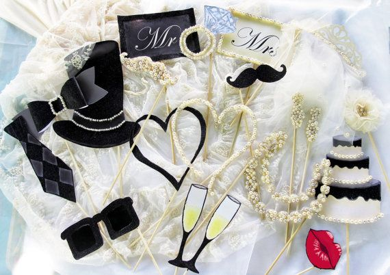 Pearls glitter tulle and lace photo booth props for an
