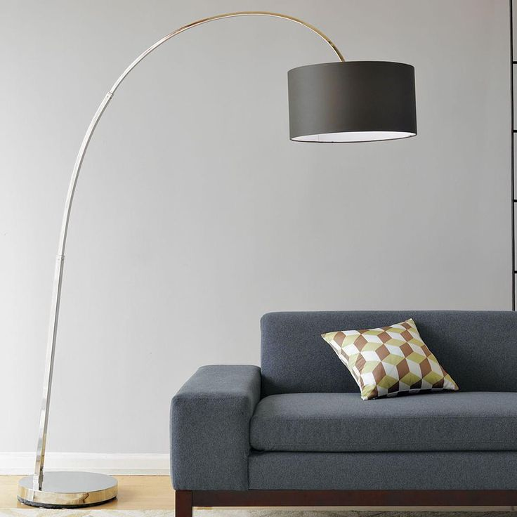 Overarching Floor Lamp - Polished Nickel/Charcoal