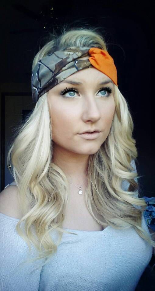 Orange and Realtree camo twist headband by TheWoodenAntler on Etsy
