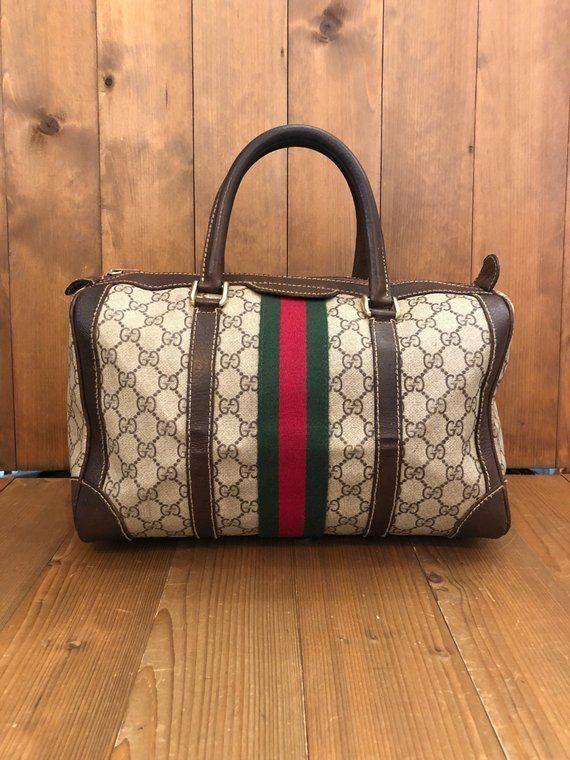 4df0762e4f2 Authentic GUCCI Web GG Brown Monogram Canvas Boston Tote Handbag   Guccihandbags
