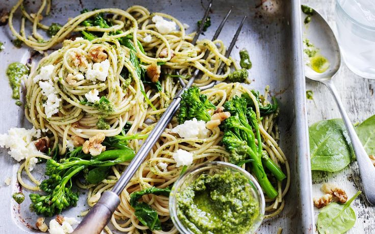 Spinach and broccolini pasta with rocket and walnut pesto recipe - By Australian Women's Weekly, The walnuts in this divine homemade pesto offer a veritable array of antioxidant and anti-inflammatory nutrients. Plus, it tastes incredible tossed through this tasty vegetarian pasta dish.