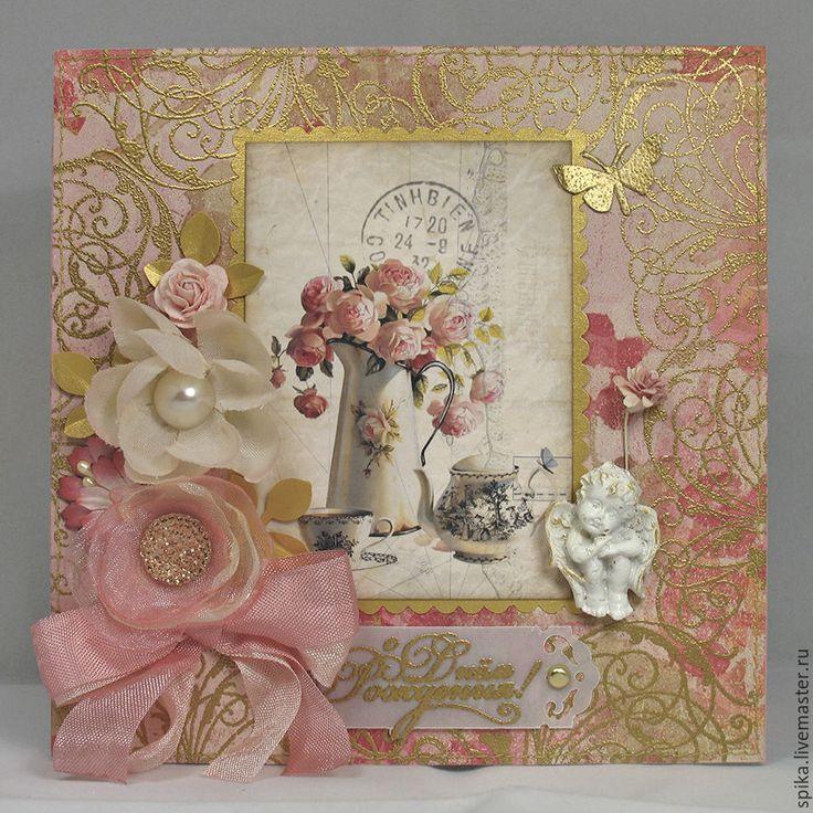 Купить или заказать Открытка 'Розовый букет' в интернет-магазине на Ярмарке Мастеров. Все золотое и все розовое... Открытка с розовым букетом будет приятна для любого именинника... Открытка сделана из перламутрового картона Sirio Perl Mysty Rose. Упакован…