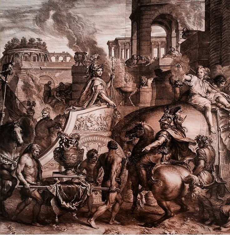 Alexander The Great's triumphal entry into Babylon, 1675 etching, and engraving, printed on two sheets. Gerard Audran (1640-1703) after Charles Le Brun. Engraving in reverse of the painting in the...