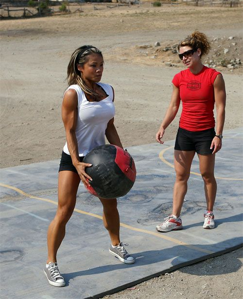 Medicine ball - old basketball, cut slit - fill with sand to determined weight, wrap in duct tape