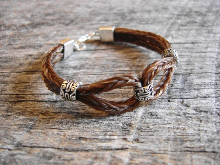 Image detail for -Braided horsehair loop bracelet with square endcaps and 3 beads