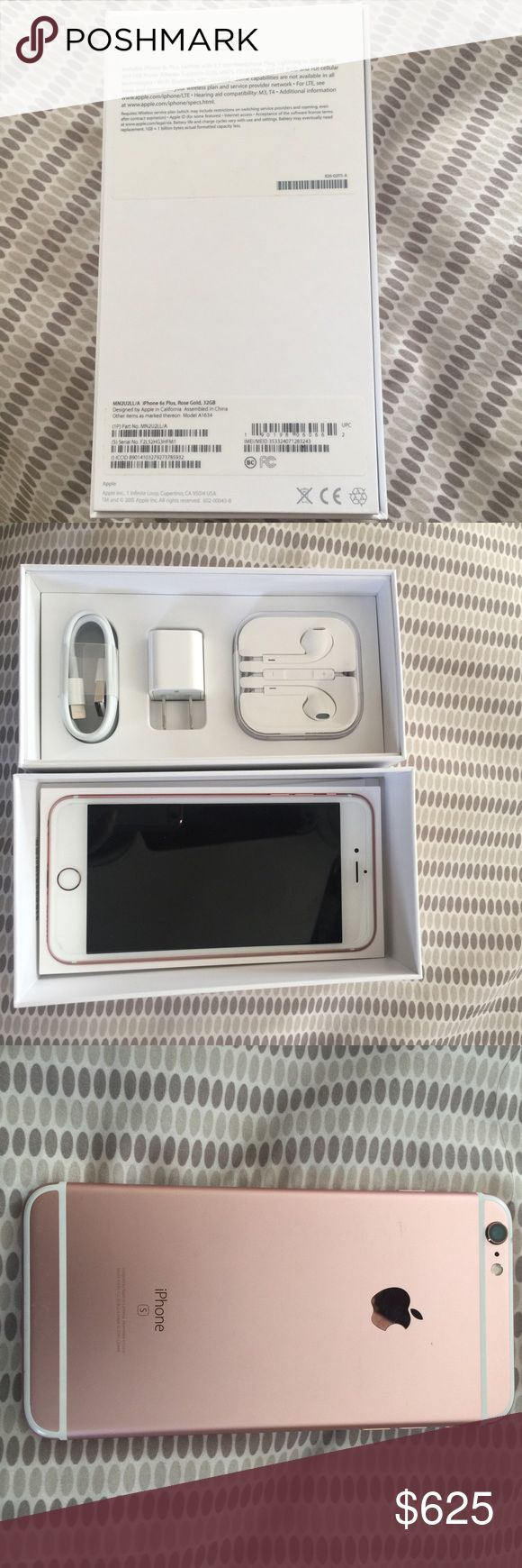 iPhone 6s Plus iPhone 6 s plus rose gold 32 gb comes with cord, adapter and earbuds. Box included. This phone is in excellent condition. Price firm. Att provider not unlocked but you can unlock it yourself. Not contracts and phone is paid in full. Comes from a smoke and pet free home. Just bought it in October. Other