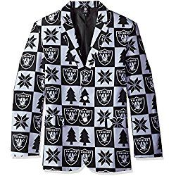 NFL Oakland Raiders Men's Patches Ugly Business Jacket, Size 46/Large