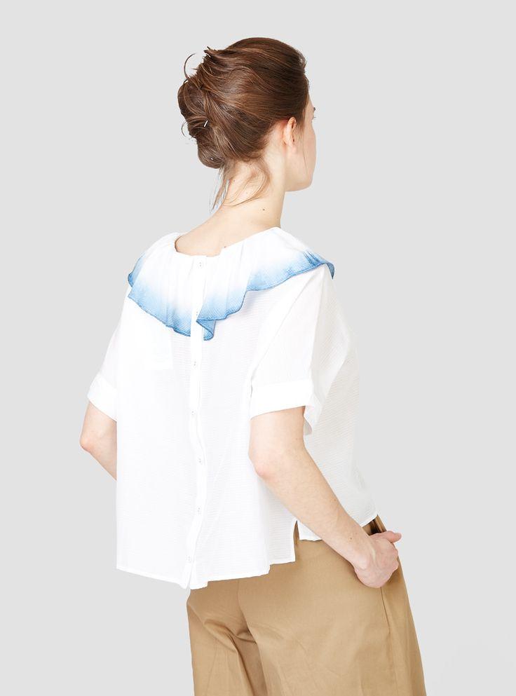Tuck Collar Dip Dye Blouse White