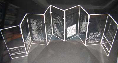 Watermarks by Helen Malone. 2003. Engraved perspex book with subtle water patterns engraved into surface, best viewed with light behind them like watermarks. Concertina book. 17 cm x 8 cm x 4 cm