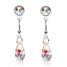 925 ezüst fülbevaló, világossárga csepp - Swarovski kristály, színes fény