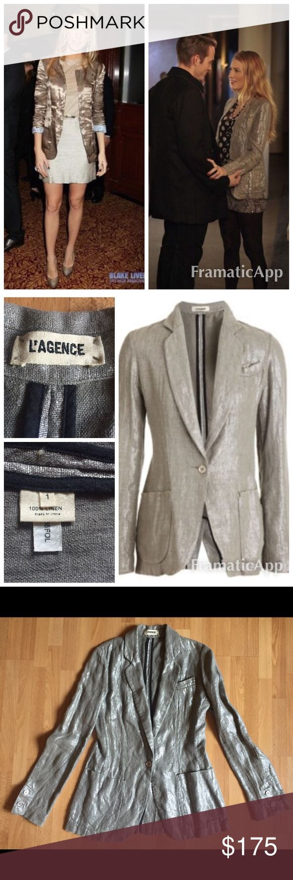 """L'Agence Silver Foil Blazer $495 XS celeb fave! L'agence Silver Foil Blazer $475 retail. Perfect condition with no flaws! Celebrity favorite as seen on Mila Kunis, Blake Lively and others. Sold out! Size 1 is XS.   Measurements: 17"""" armpit to armpit 26"""" top of shoulder to bottom hem  Linen lurex single-button blazer with notched lapels, welt chest pocket and two patch pockets. Distressed edges. Center vent. Available in Light Brown. Imported. Linen. Dry clean. L'AGENCE Jackets & Coats…"""